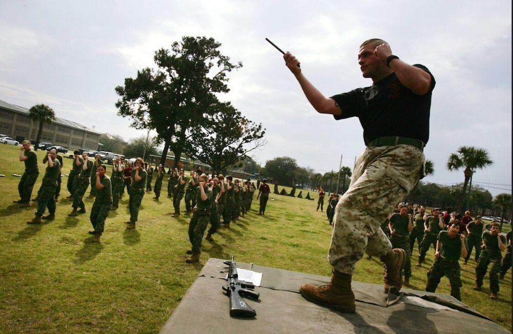 U.S Marine recruits practice Marshall arts USA Us Military USMC Parris Island