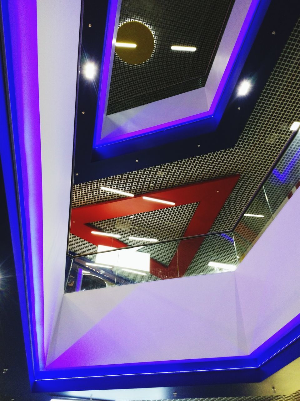 illuminated, indoors, purple, architecture, no people, built structure, close-up, day