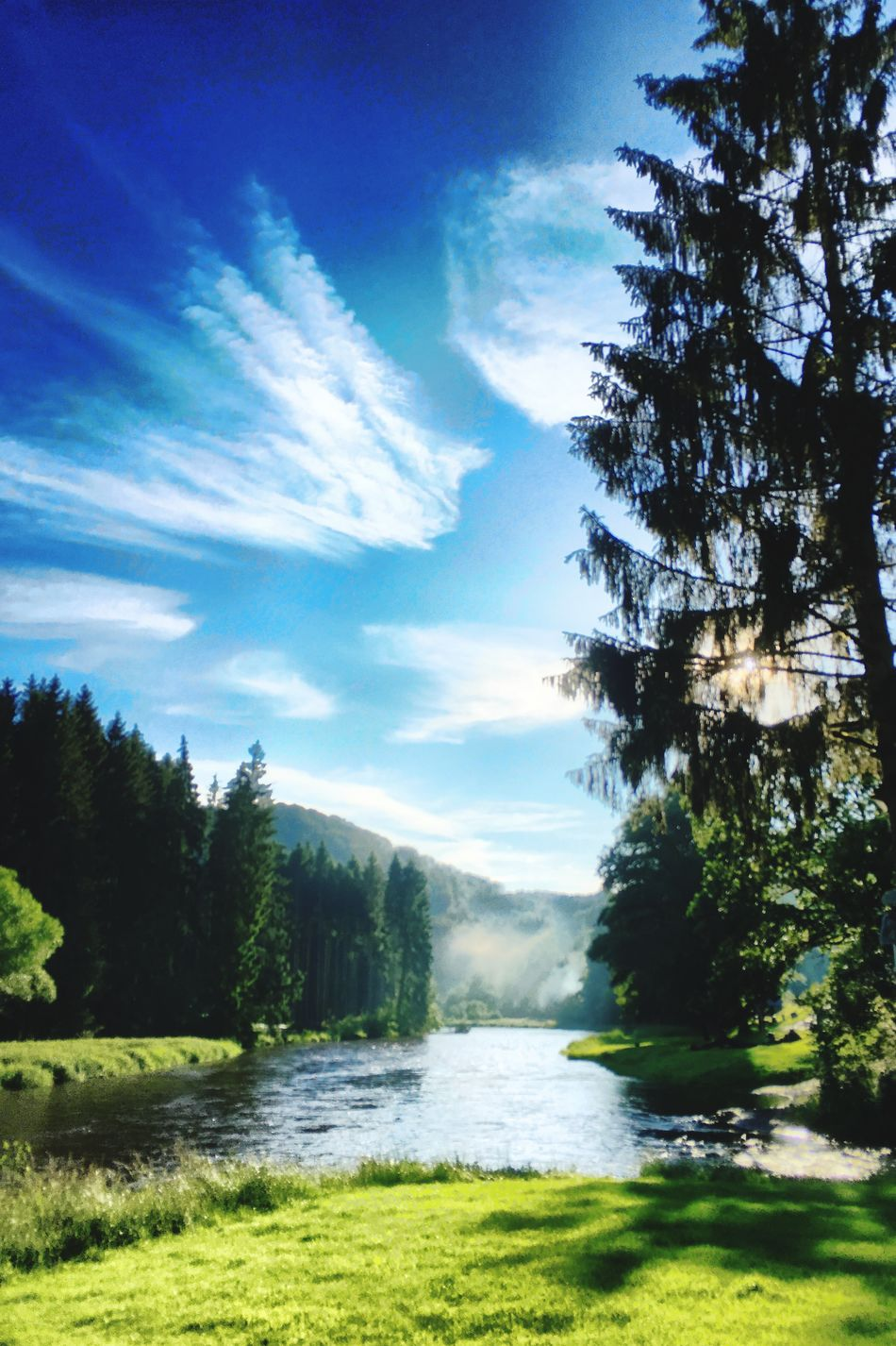 Feel The Journey Enjoying Life Holiday Ardennes Riverside Outdoors Beautiful Day Beautiful Nature No People River View Nature Nature_collection Forest Clouds And Sky