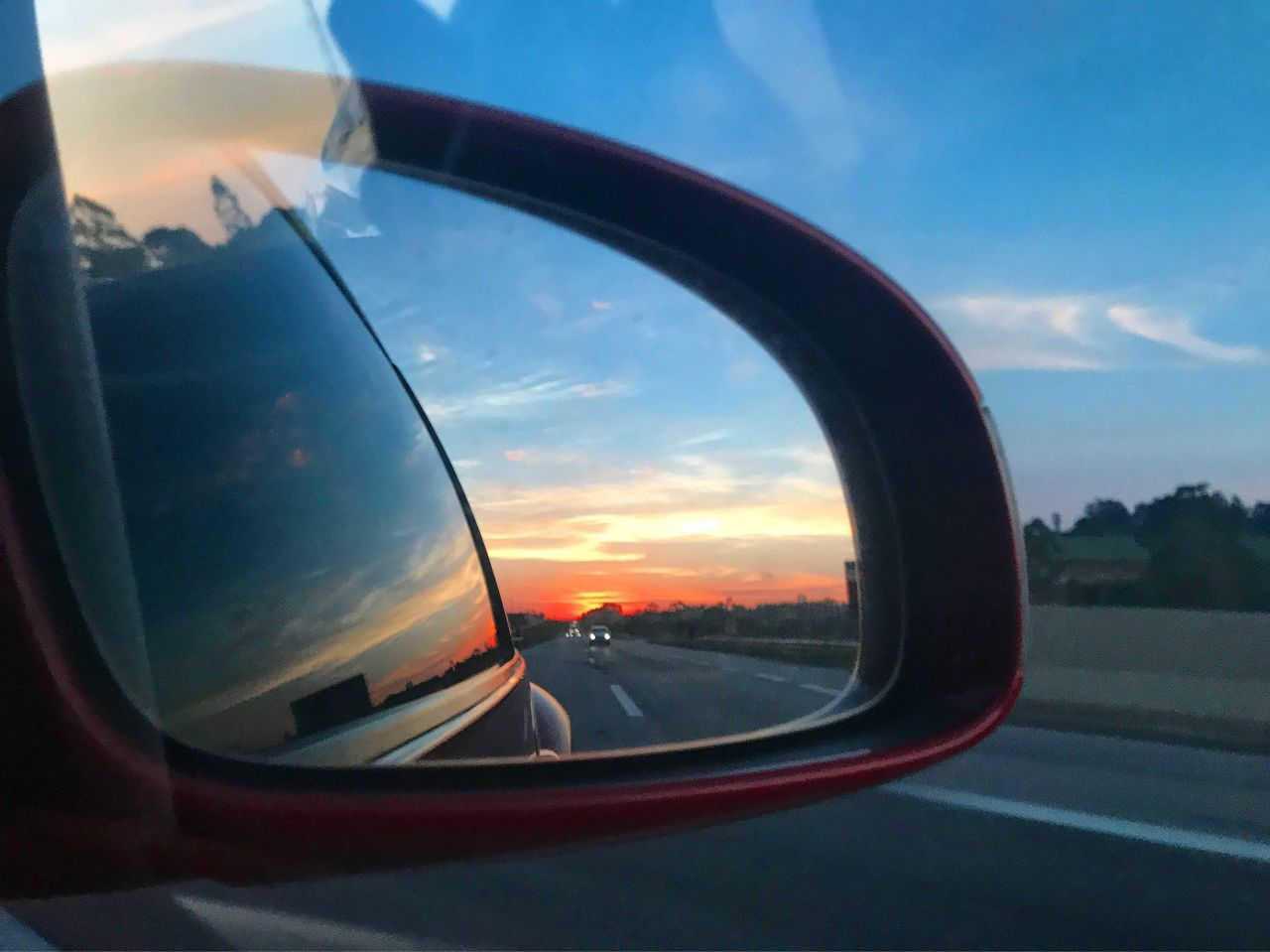 side-view mirror, car, transportation, reflection, sky, land vehicle, mode of transport, vehicle mirror, sunset, cloud - sky, road, mirror, window, road trip, no people, outdoors, close-up, nature, day