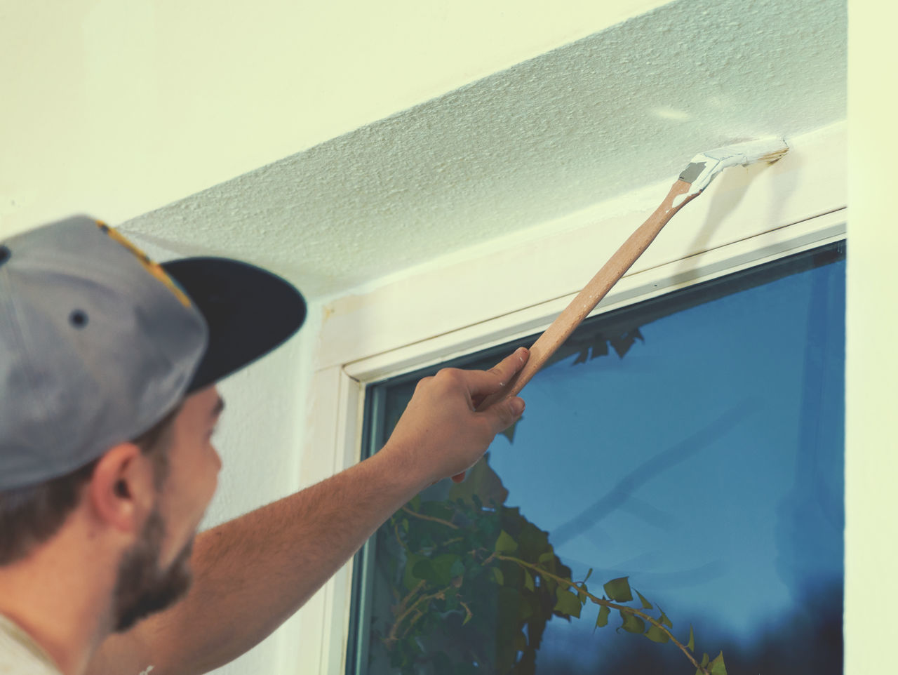 Brush Cap Color DIY Do It Yourself Doityourself French Home Job Men At Work  Paint Paintbrush Painter Refurbish Renovation Roll Room Wall Worker Young Adult Young Men
