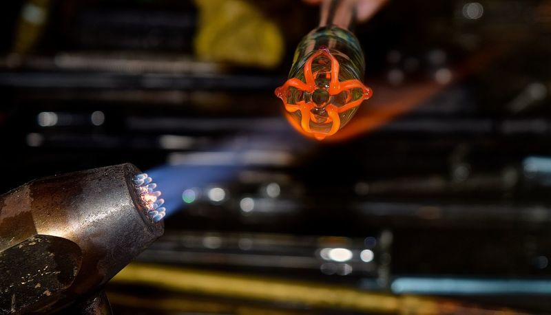 Glass Blowing #glassart #glassblowing Art Concentration Creativity Creativity Has No Limits Entrepreneur Flames Girl Power Glass Artist Glass Artistry Glass Artwork Glass Blowing Hand Made Handmade Heat Skill  The Innovator Showcase June The Mix Up Home Is Where The Art Is