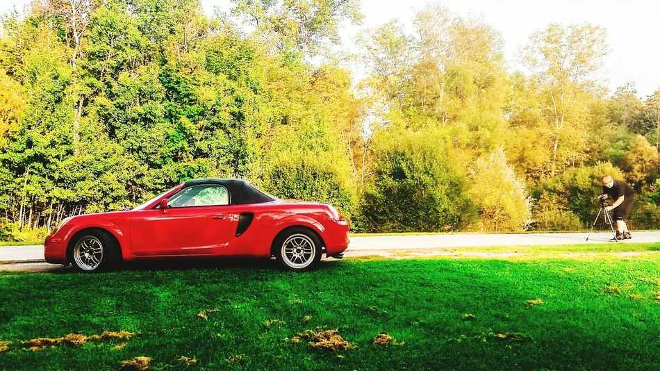 Summertime Upstateny America Red Roadster Convertible Tein Enkei NITTO Toyota Rpf1 Midengine Clean MR2 2zz RWD Mr2spyder 6speed Photoshoot Photographer Training Practise