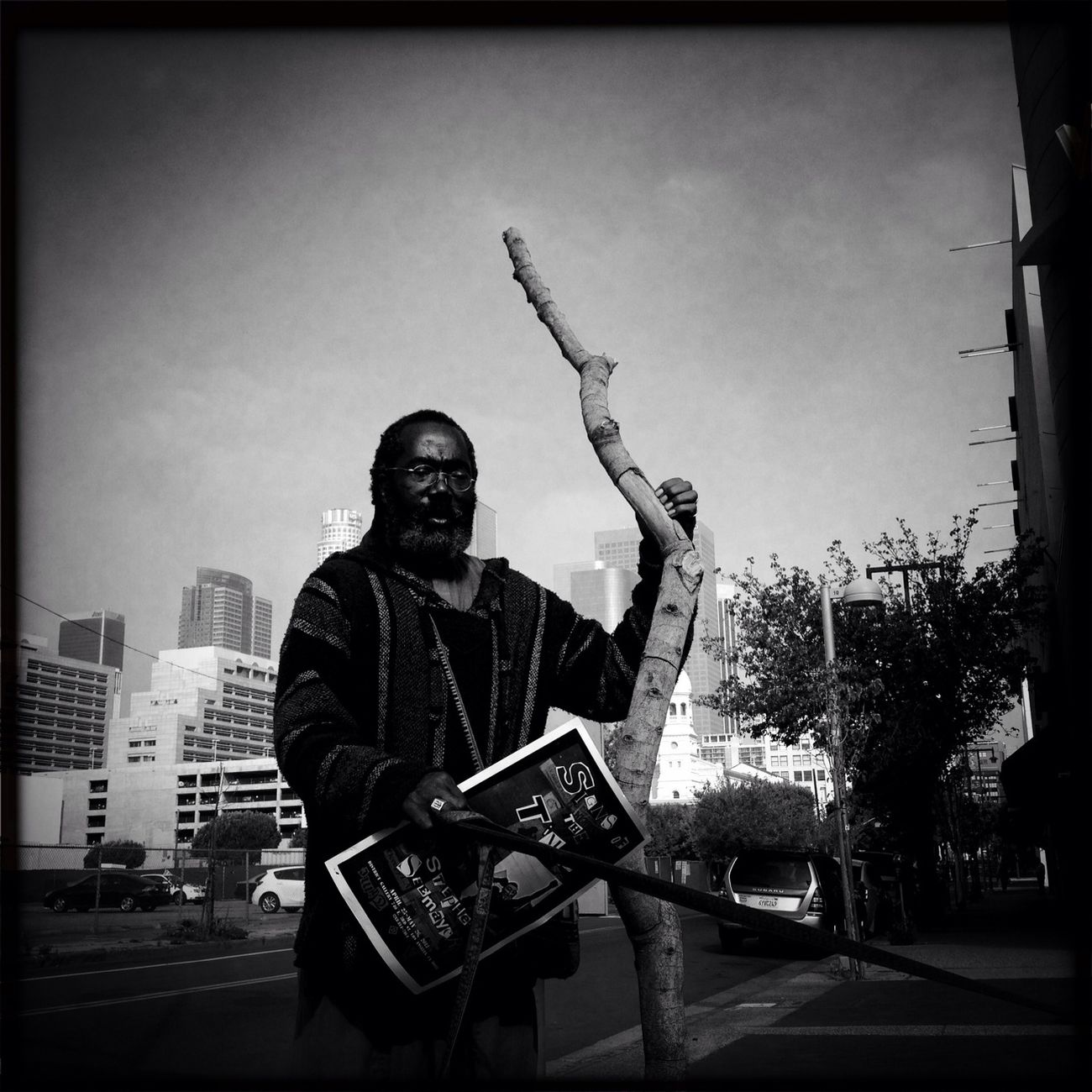 """""""Spirit"""" Prophet with Staff. He want to show people the """"Signs of the Time"""" also the title of his art show which warns people about the second coming of Christ. #weareJuxt"""