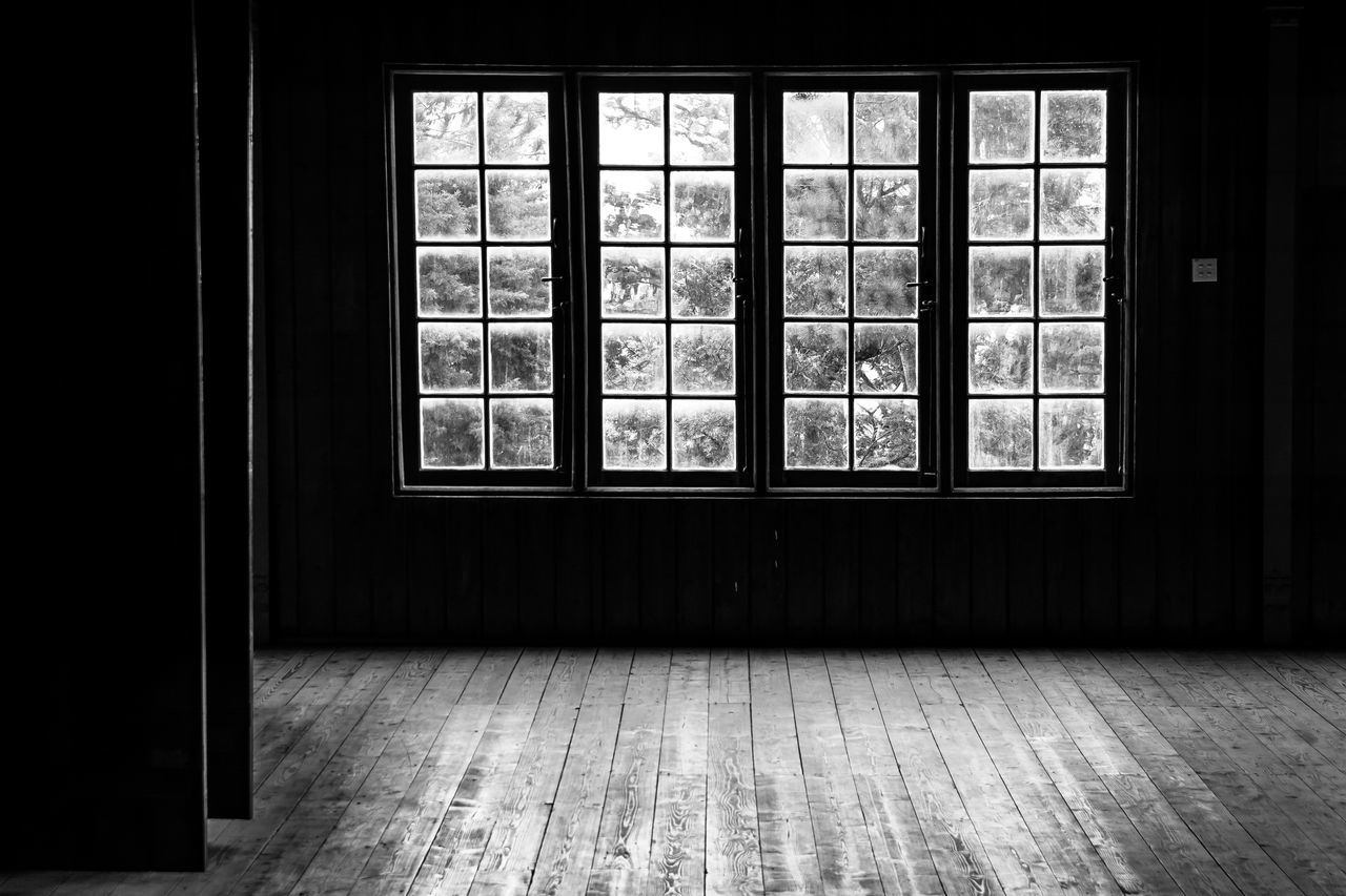 Architecture Black And White Cold Dark Day Domestic Room Empty Empty Room Glass Home Interior Indoors  Light Monochrome No People Room Shadow Trees Window Windows Winter Wooden Floor