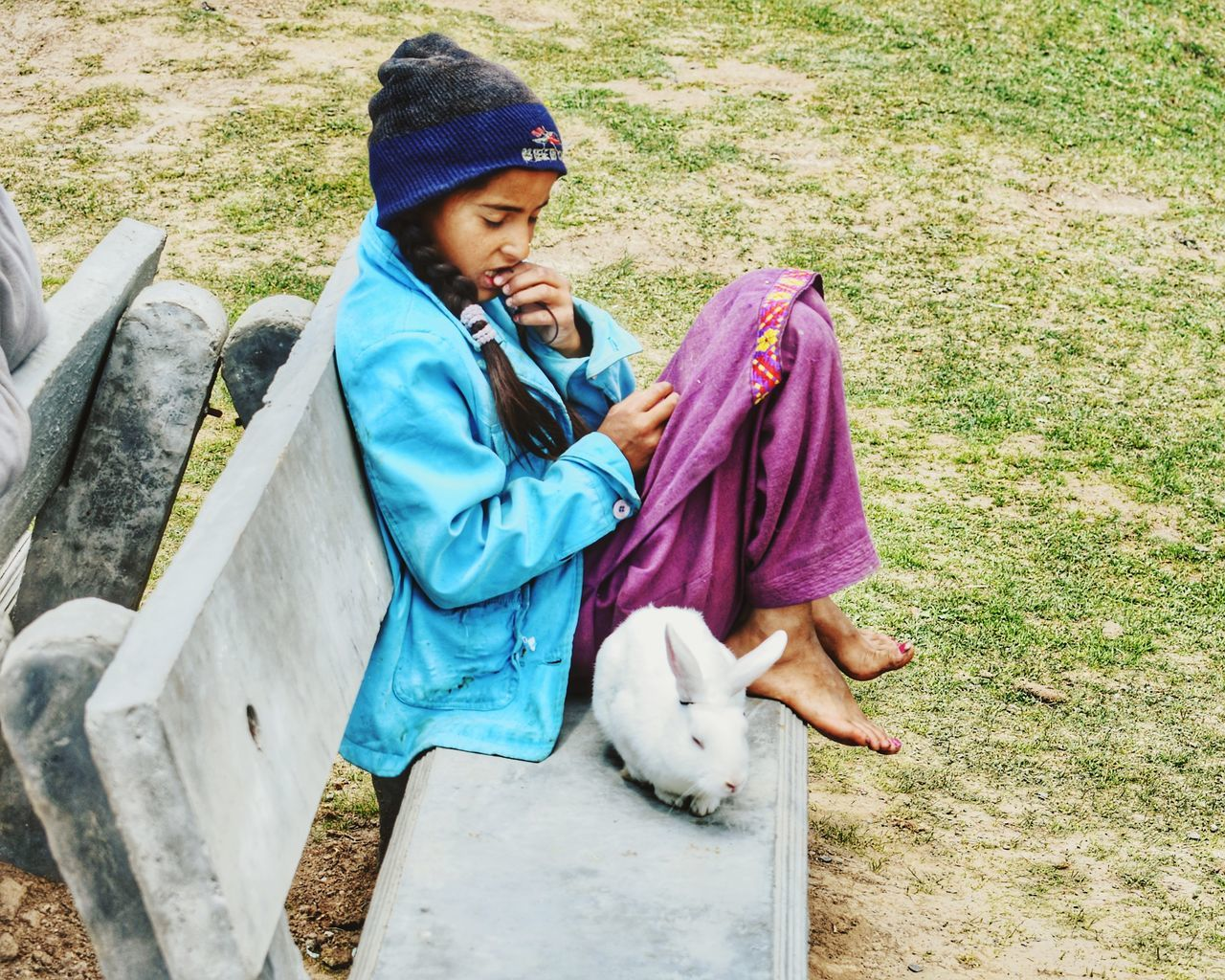Childhood Full Length High Angle View One Person Outdoors Children Only Girl With Her Pet Rabbit Village Girl Innocence Of A Child