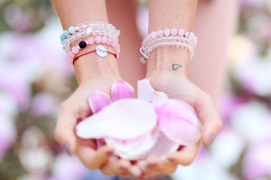Bracelet Close-up Day Flower Fragility Handmade Human Hand Leaves Lifestyles Love Magnolia Mom Mum Nature Only Women Outdoors Pink Color Tattoo
