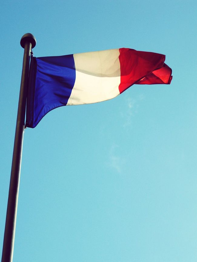 France 🇫🇷 France Flags In The Wind  Flag Wind Sky Clear Sky Blue Red White French Flag Colors Color Palette