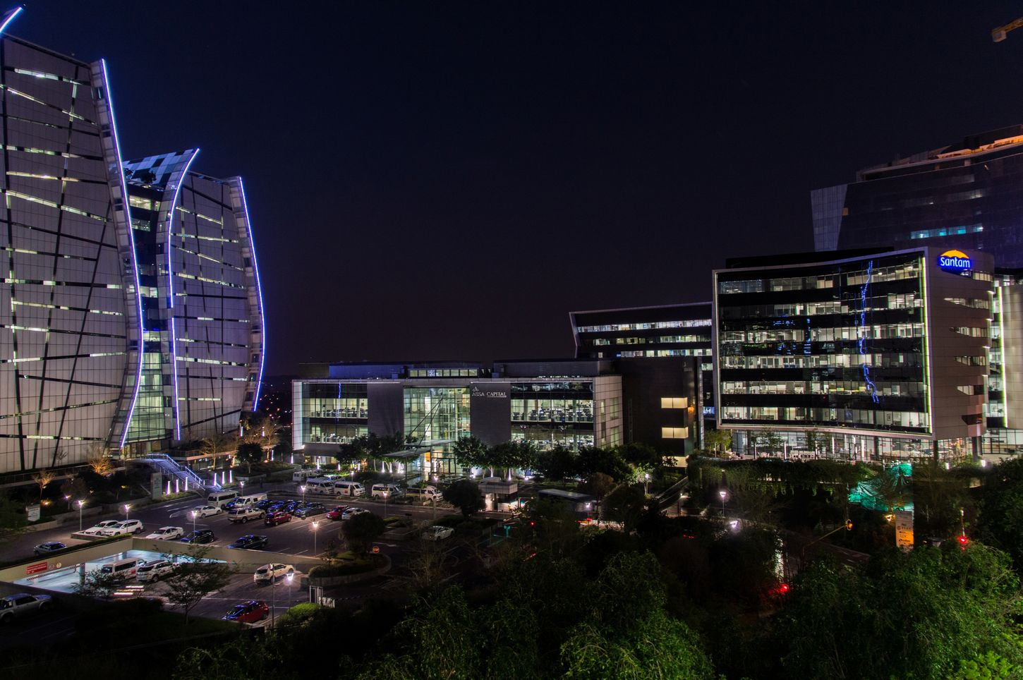 Architecture Built Structure Building Exterior City Clear Sky Illuminated Office Building Modern Sky Outdoors Urban Skyline After Sunset Parking Space Office Buildings Lights Norton Rose Absa Bank Of China Santam Enjoying Life Taking Photos Sandton South Africa