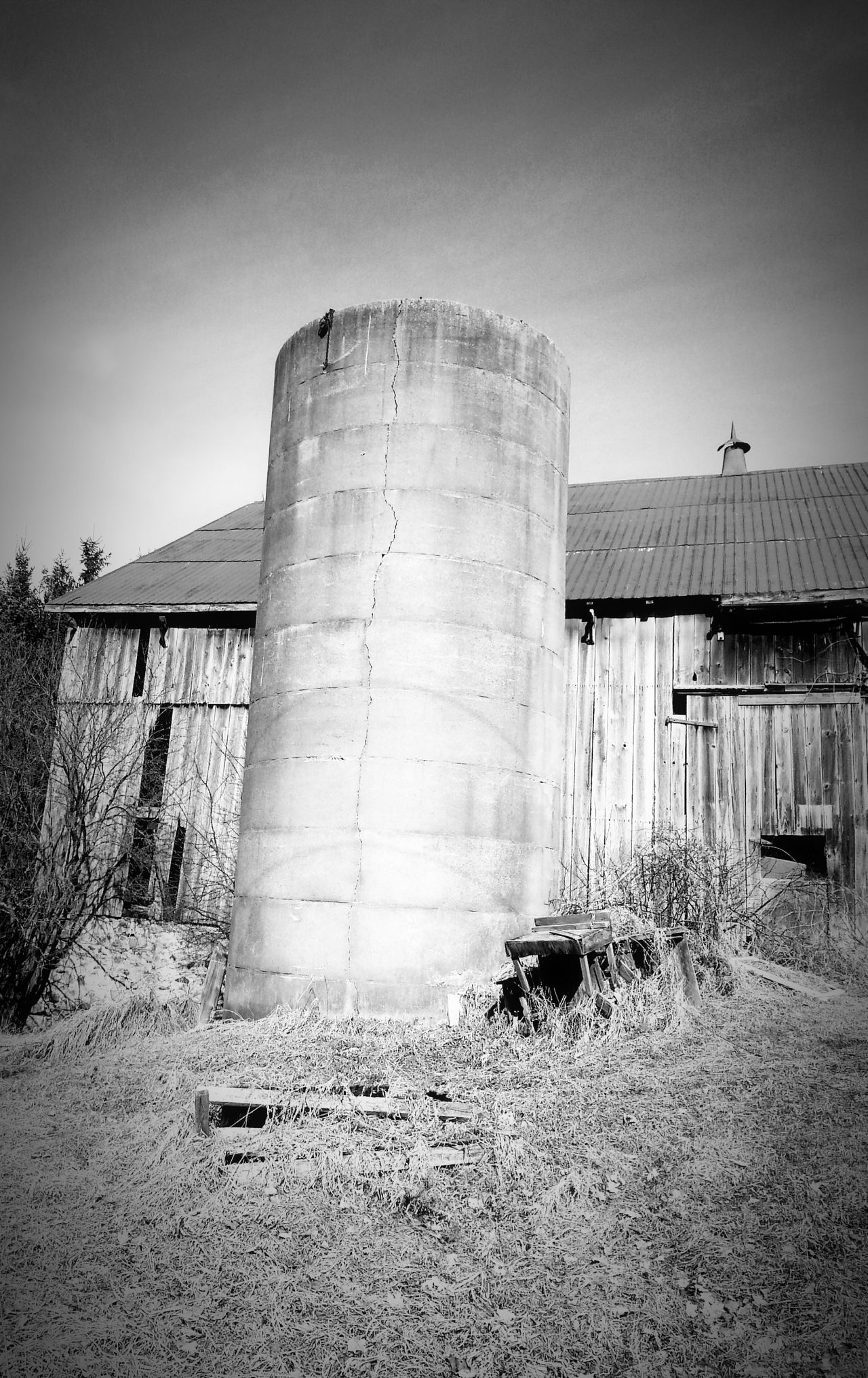 Silo Barn Abandoned Barn Black And White