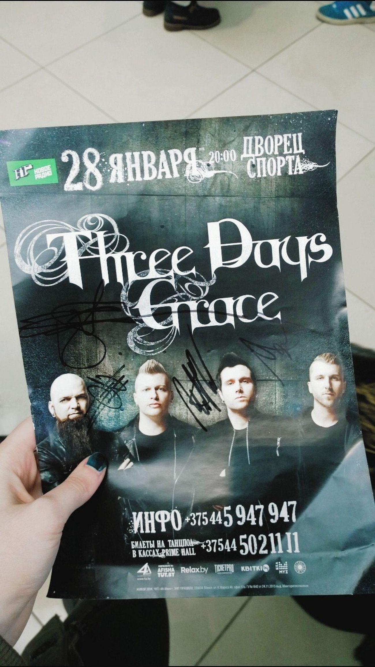 3DG Matt Walst Brad Walst Barry Stock Neil Sanderson Three Days Grace Belarus. Minsk Rock Autographs Autograph