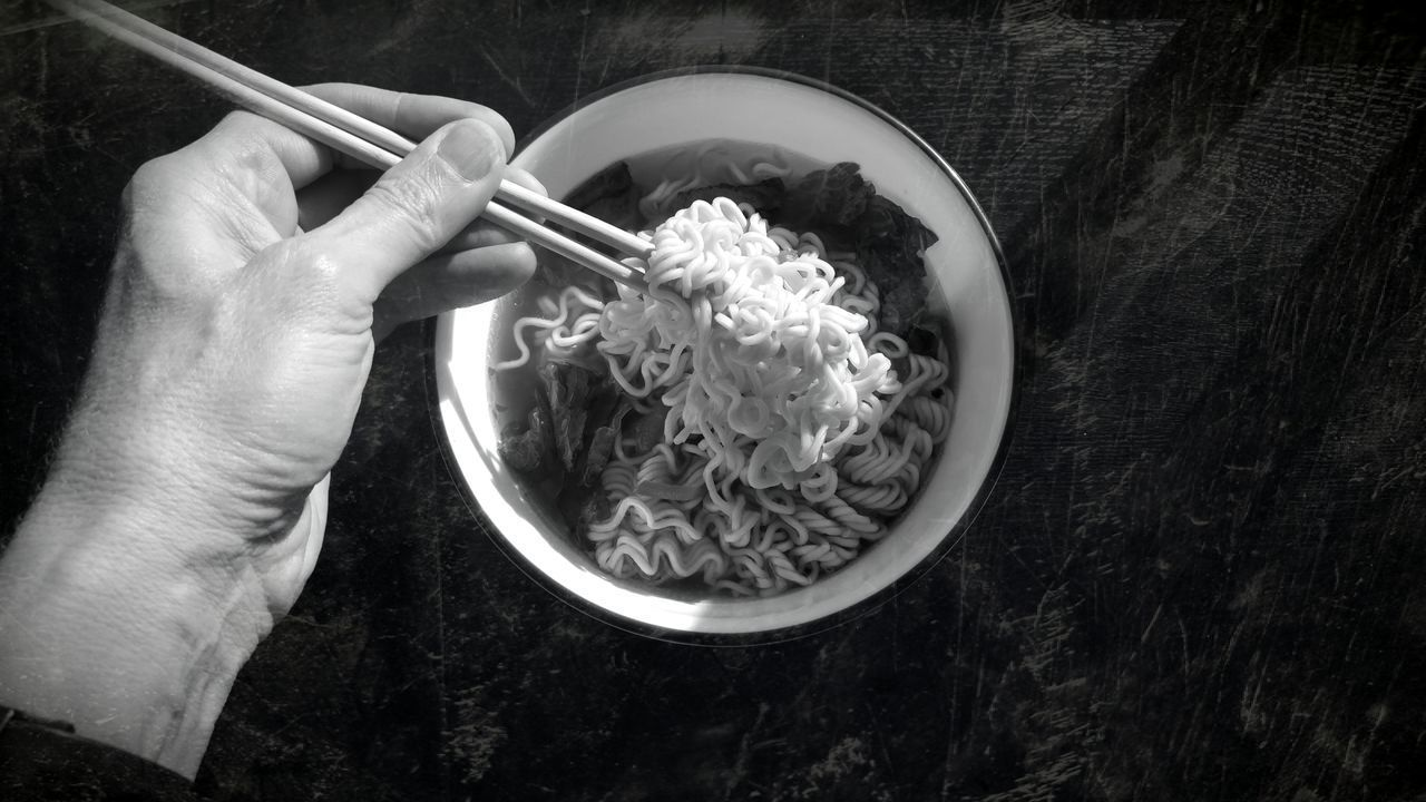Shangai surprise Bowl Chopsticks High Angle View Noodles ASIA Asian  Black & White Collection Travelogue Spicy