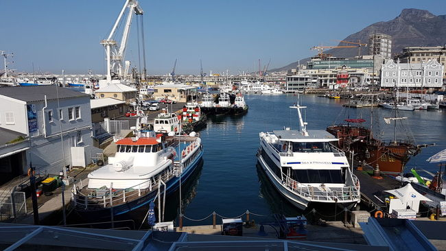 Nautical Vessel Transportation Moored HarbourBoat Water Architecture Mode Of Transport Built Structure Building Exterior Bayview Crane - Construction Machinery Commercial Dock Waterfront City Sea Ship Sunny Day Cape Town Beauty Table Mountain V And A Waterfront Cape Town, South Africa