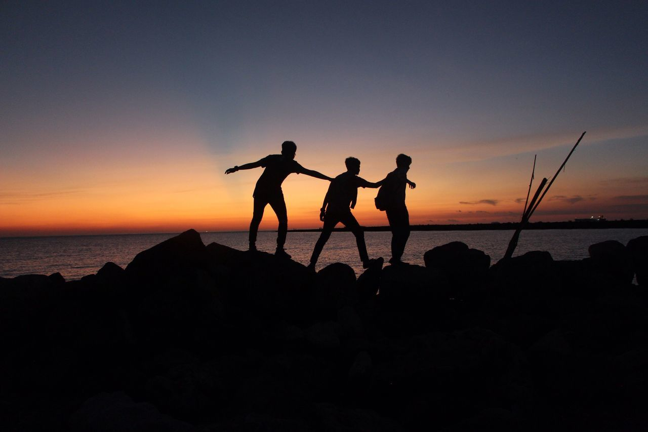The Journey Is The Destination , when you are on a Trip you need Friends to keep you in balance, Sunset Silhouette