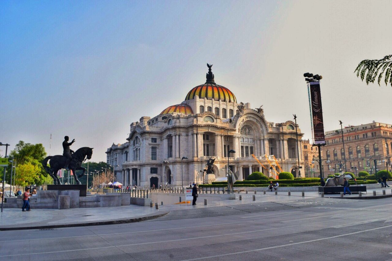 Architecture Statue Sculpture Art And Craft Dome History Travel Destinations Façade Monument Travel Built Structure Outdoors Building Exterior City Day Sky No People Bellas Artes Palacio De Bellas Artes