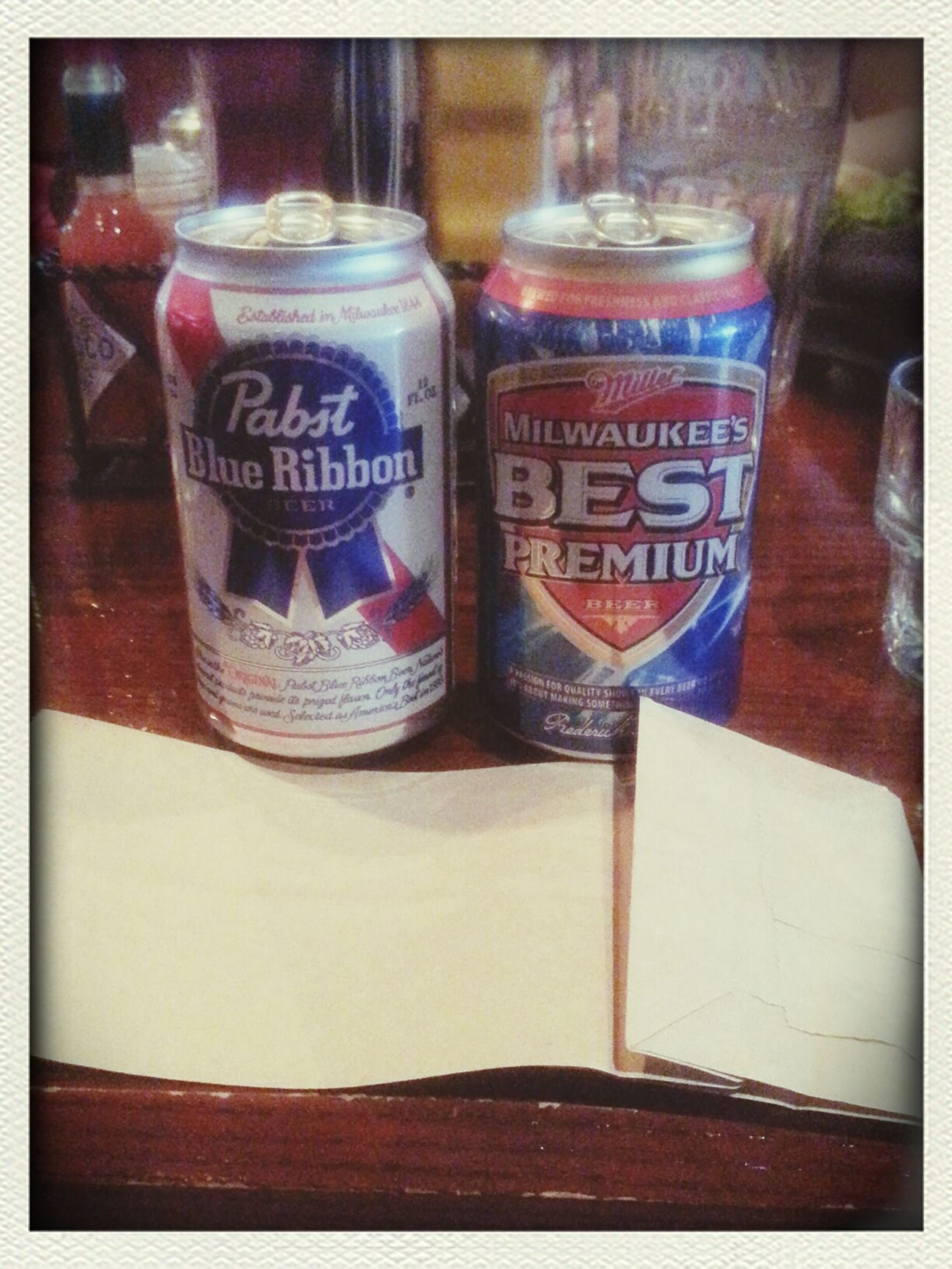 Bag o'beer time. I got PBR and Carlos got Milwaukee's Best. Good times with my besties.
