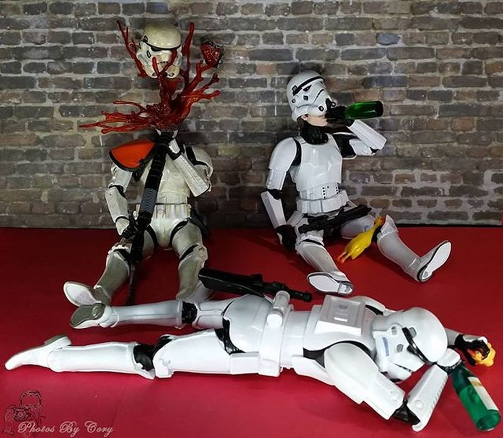 First a goth asthmatic guy that can choke you with his mind, teddy bears, then an exhaust port as the achilles heel of a planet destroying Space Station!? Now what do we do? Forceworldproblems Stormtrooper Drunktoys Toyplanet_challenge_phoneonly