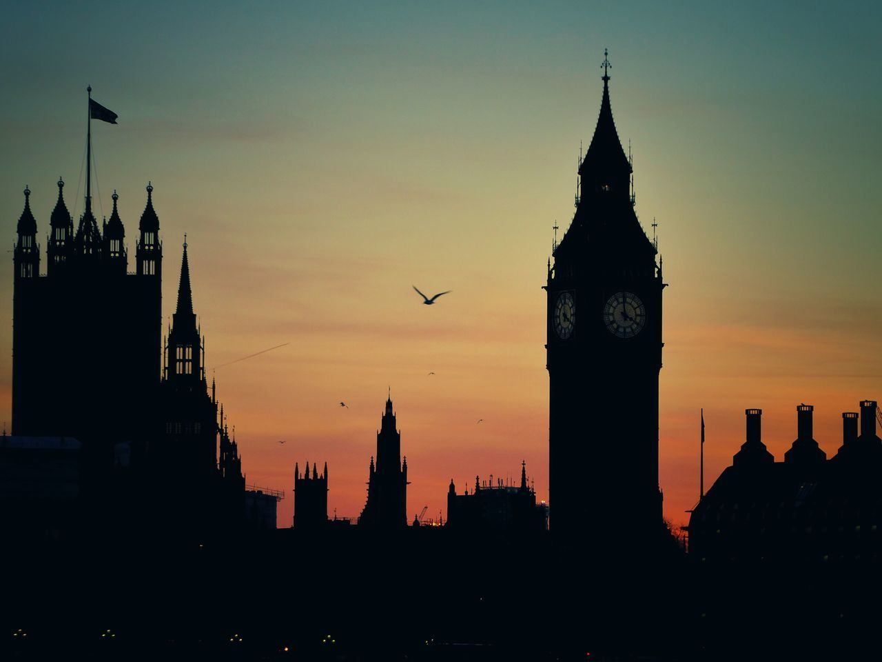 Big Ben London Westminster Architecture City Built Structure Orange Color Silhouette Tower Clock Bird Clock Tower Travel Destinations Sky Cityscape Sunset Sunset_collection Sunset Silhouettes British Britain United Kingdom EyeEmNewHere