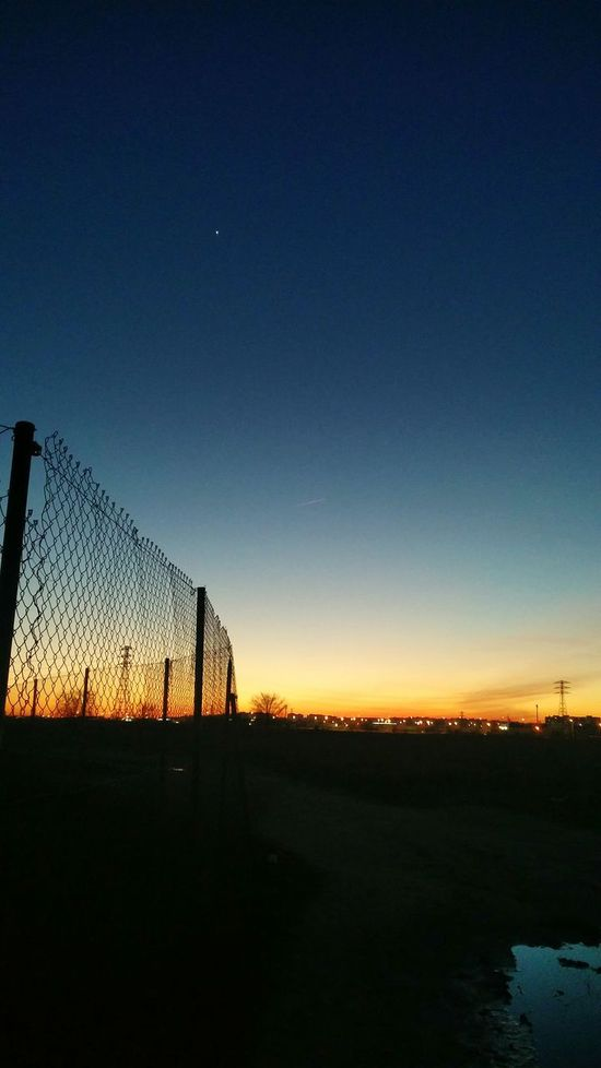 Sunset Sky Blue Silhouette Dramatic Sky City Tranquility Night No People Outdoors Tranquility Lasuma Madrid The City Light Creativity Urban Streetphotography City Silhouette Fence Scenics