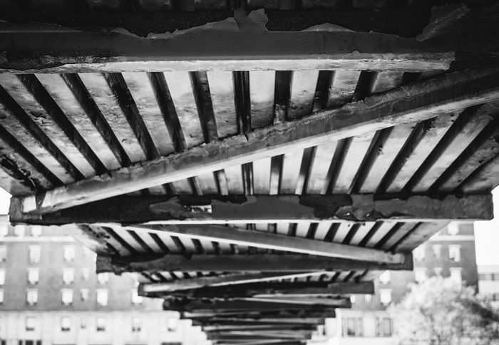 Black And White Bridge Low Perspective Panels Pattern Underneath Vanishing Point Wooden