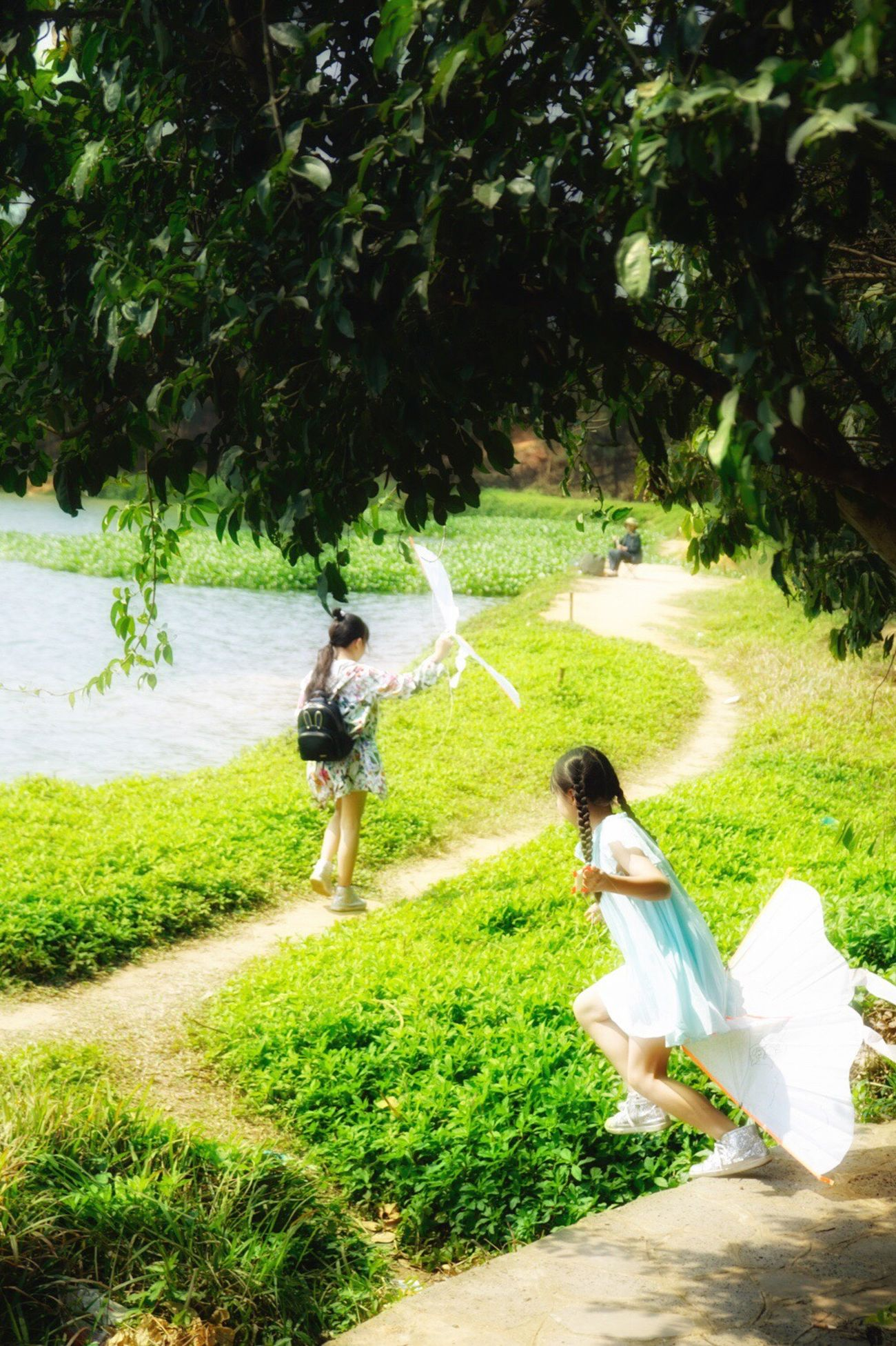 My little fairies❤️ Grass Tree Childhood Day Green Color Outdoors Full Length Togetherness People Adult Happiness Flying A Kite Tree Spring Lovely View Green
