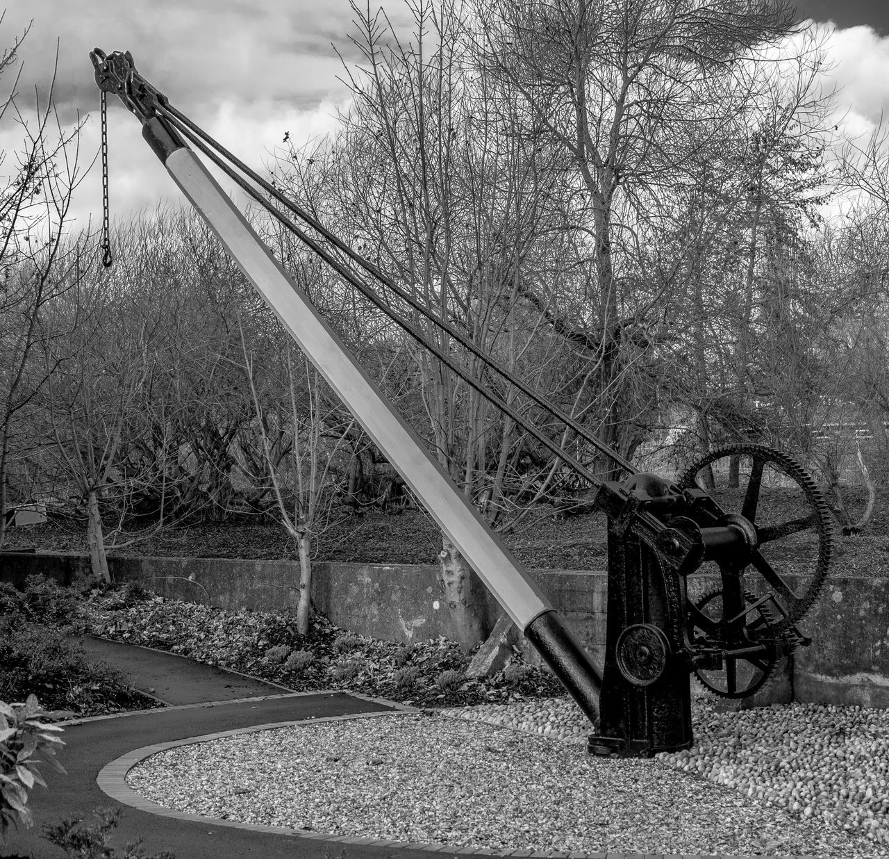 Loading Crane, Grand Union Canal, Northampton Arm Winch Crane Industrial Heritage Industrial Landscapes Northampton Monochrome Photography Monochrome Black And White FUJIFILM X-T2 Grand Union Canal Canal