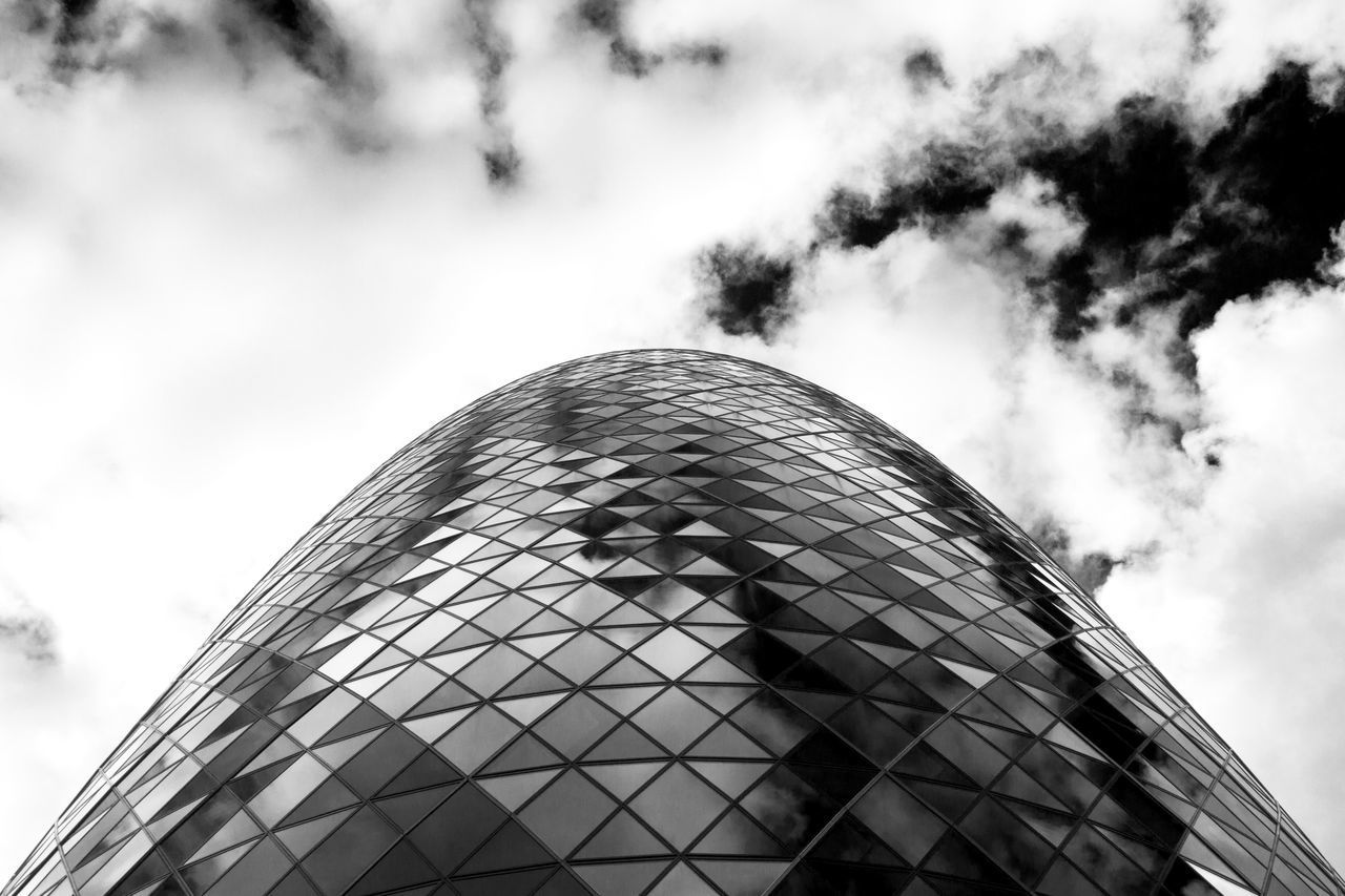 Architecture Black And White Photography Building Exterior Cloud - Sky Dramatic Angles Geometric Shape Gherkin Gherkin Tower Glass - Material High Contrast Low Angle View Modern No People Office Building Reflection Skyscraper Symmetry