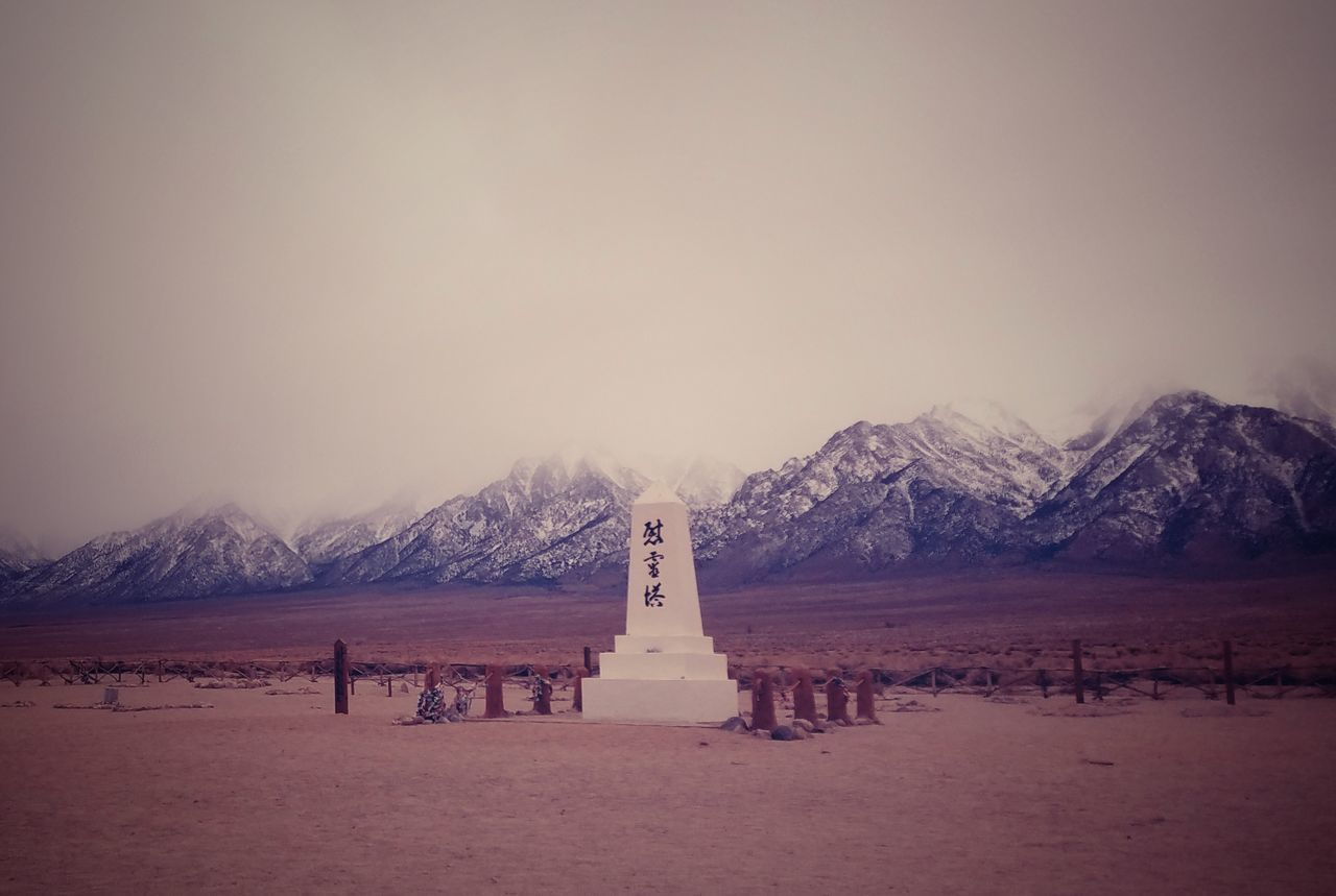 Snow Winter Cold Temperature No People Nature Beauty In Nature Outdoors Day Mountains Mountain Range Snowcapped Mountain Sierranevadamountains Clouds Fog Monument Manzanar Japanese Internment Camp Manzanar National Monument