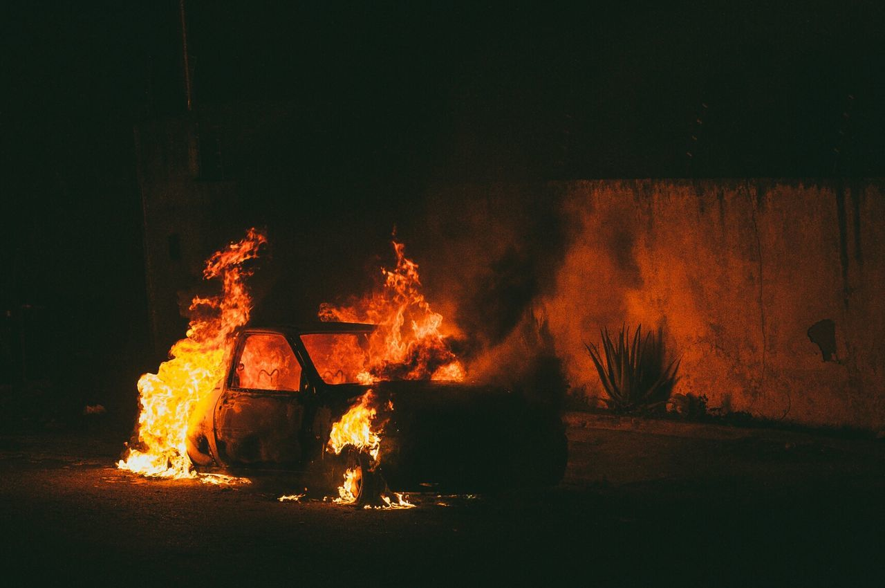 Beautiful stock photos of night, Abandoned, Ablaze, Car, Damaged