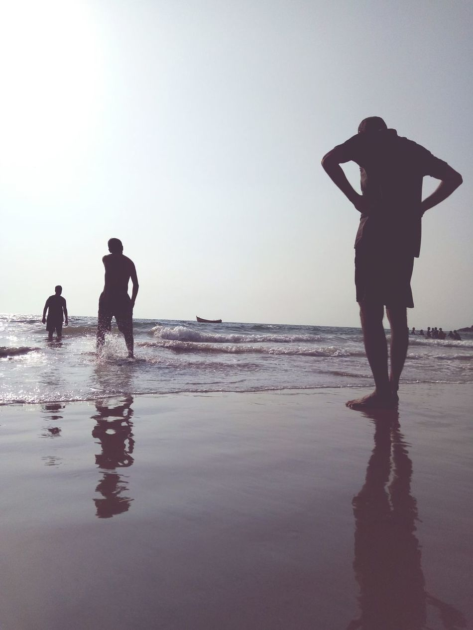 Silhouette Reflection Beach Water Adult Walking Men People Only Men Wet Business Finance And Industry Full Length Sea Standing Adults Only Two People Outdoors Day Sky Young Adult Togetherness Beachtime Mature Adult Leisure Activity