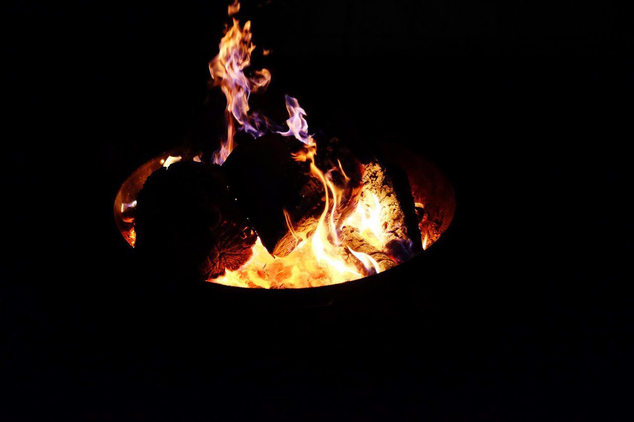 Flame Bonfire Burning Negative Space Night