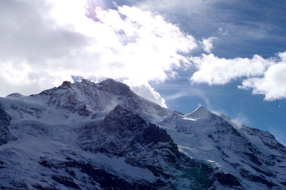 Morning Light Glory Mountain Alps Sky Snow Cloud - Sky Jungfrau Top Of Europe EyeEm Nature Holiday Skiing in Switzerland