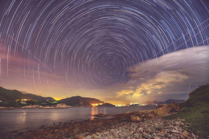Startails Lanscape Night View Stars