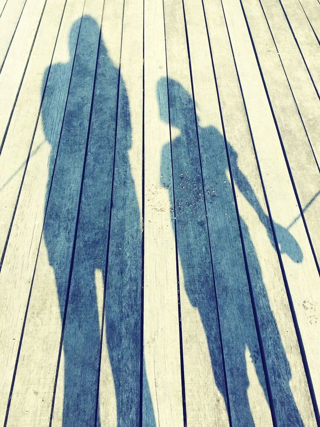 Shadow Plank High Angle View Focus On Shadow Momandson Dogwalking Wood - Material Outdoors
