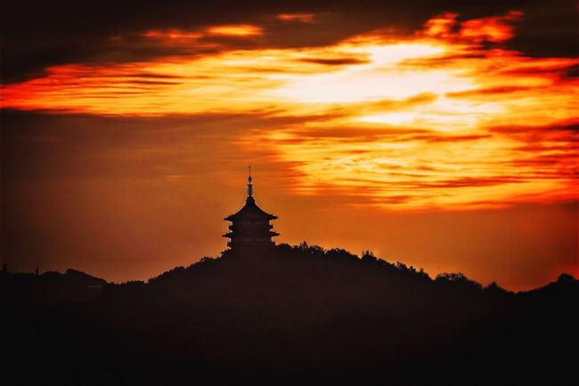 The tower of sunrise My Street Photography My Traveling Photography From My Point Of View Sunrise Morning Sky Cloud - Sky Tranquil Scene Tower Scenics Mountain Fired Cloud