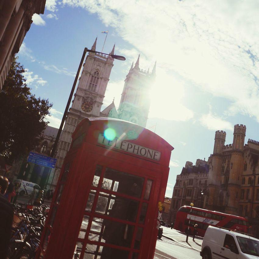 London Lifestyle City Sunlight Day Sunbeam Traveling London England Telephone Telephone Box Telephone Booth Red Against The Light Against The Sun Against The Sky Backlight Backlighting Warm Colors