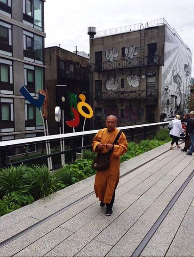 Full Length Real People Building Exterior Day Outdoors Built Structure Architecture Men Adults Only Adult People Buddhist monk on the HighLine