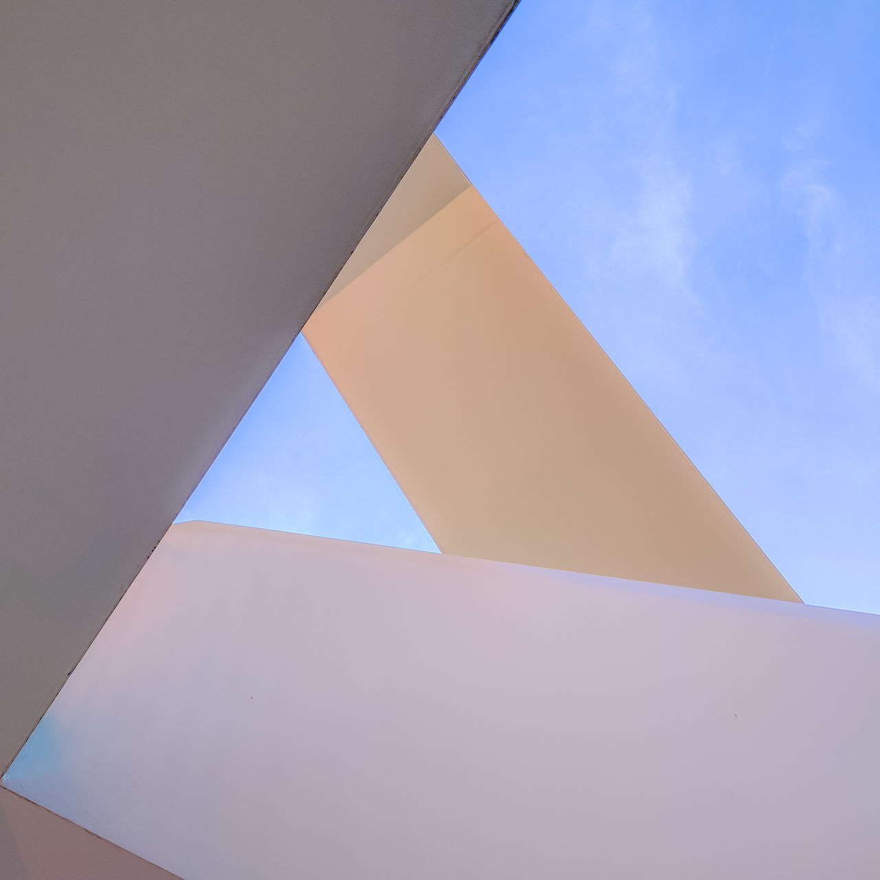 Abstract Architecture Blue Building Exterior Built Structure City Day Geometry Low Angle View No People Outdoors Sky Staircase Triangle Shape