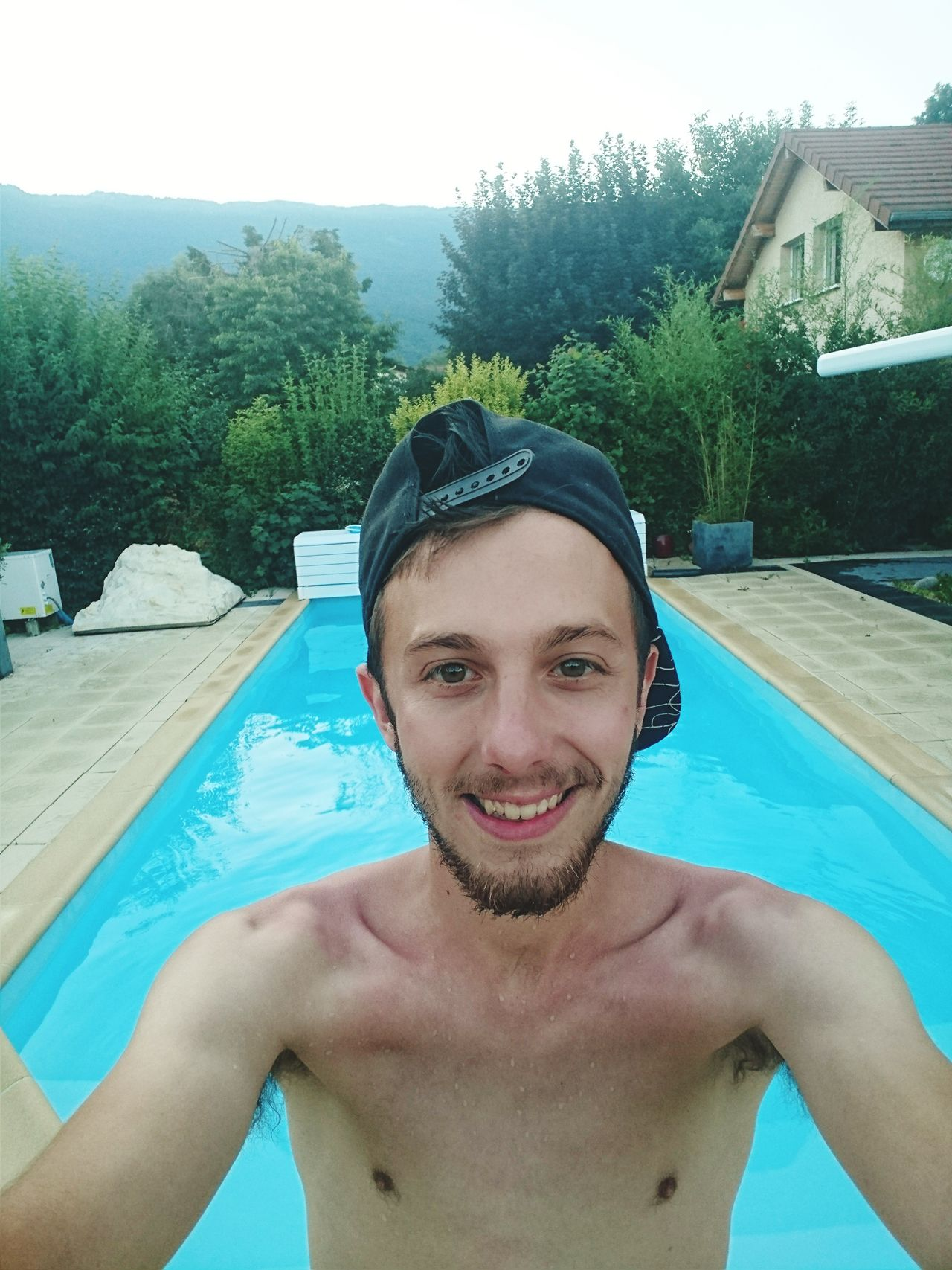 Water Swimming Pool One Person Only Men One Man Only Headshot Summer Portrait Front View Day Vacations Mid Adult Outdoors Looking At Camera Leisure Activity Snapback Selfıe Followme Itsme