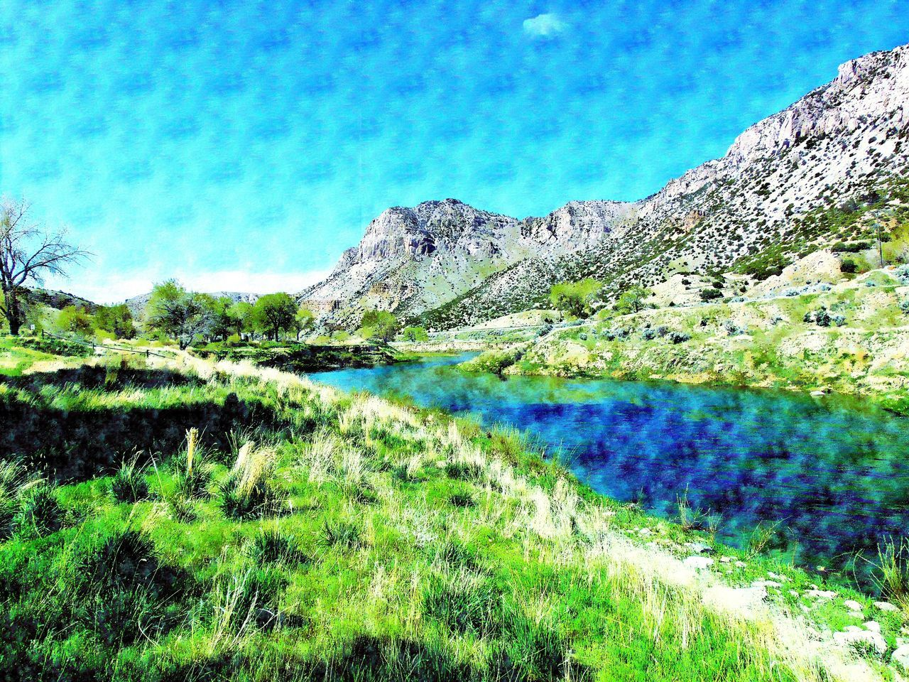 Beauty In Nature Blue Cloud Cloud - Sky Countryside Day Grass Green Color Idyllic Landscape Mountain Mountain Range Nature No People Outdoors Plant Remote Scenics Sky Tranquil Scene Tranquility Water Wind River Canyon Wyoming
