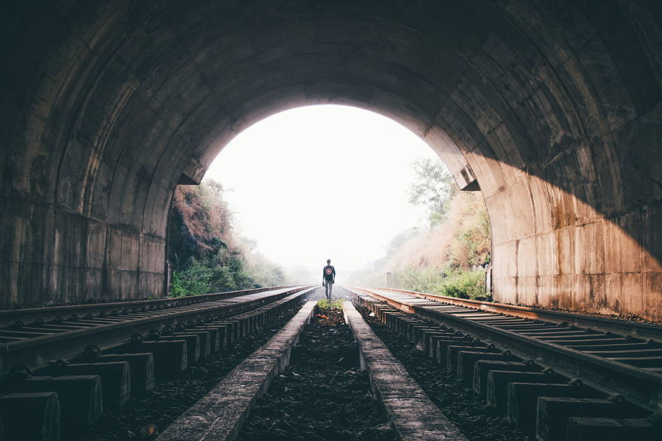 Just because my path is different doesn't mean I'm lost. Rail Tunnel Arch Light At The End Of The Tunnel Railroad Track Tracks Path The Way Forward