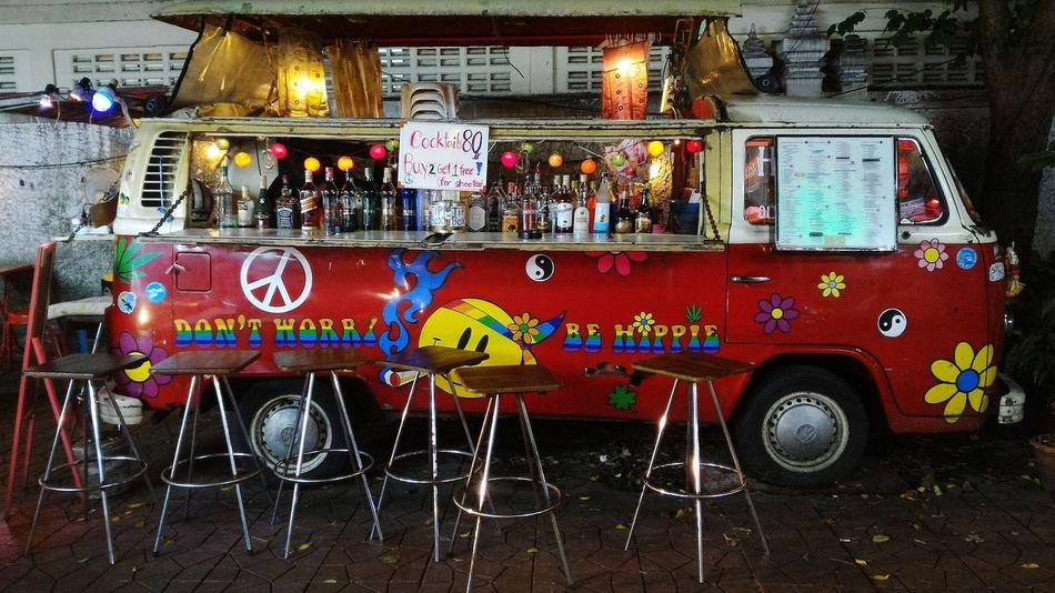 Bangkok Thailand. Night Photography Wolkswagen Van Bar No People Drinks With Friends Traveling Sightseeing Bangkok Thailand