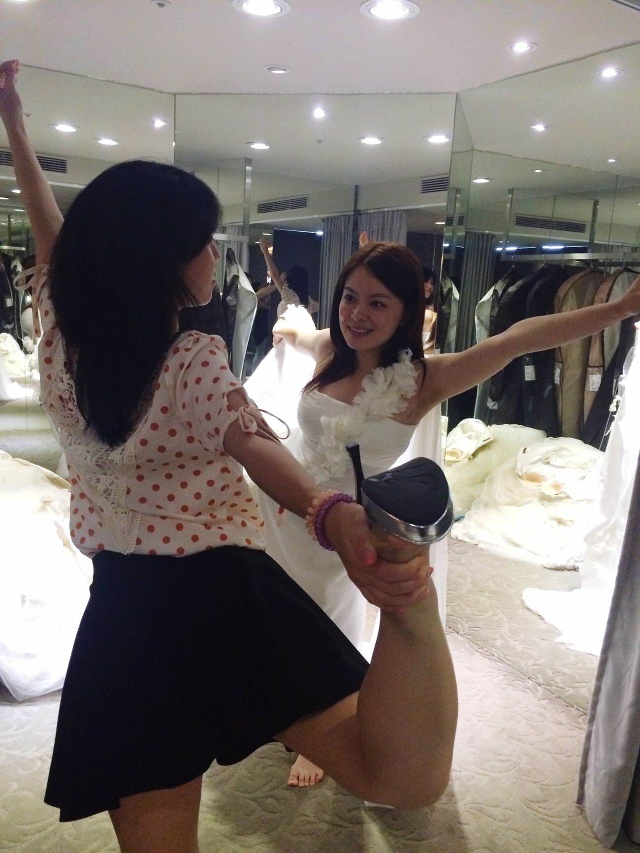 Yoga With The Bride Lovely <3 <3 <3 My Gilrs Beautiful Trying Wedding Dress
