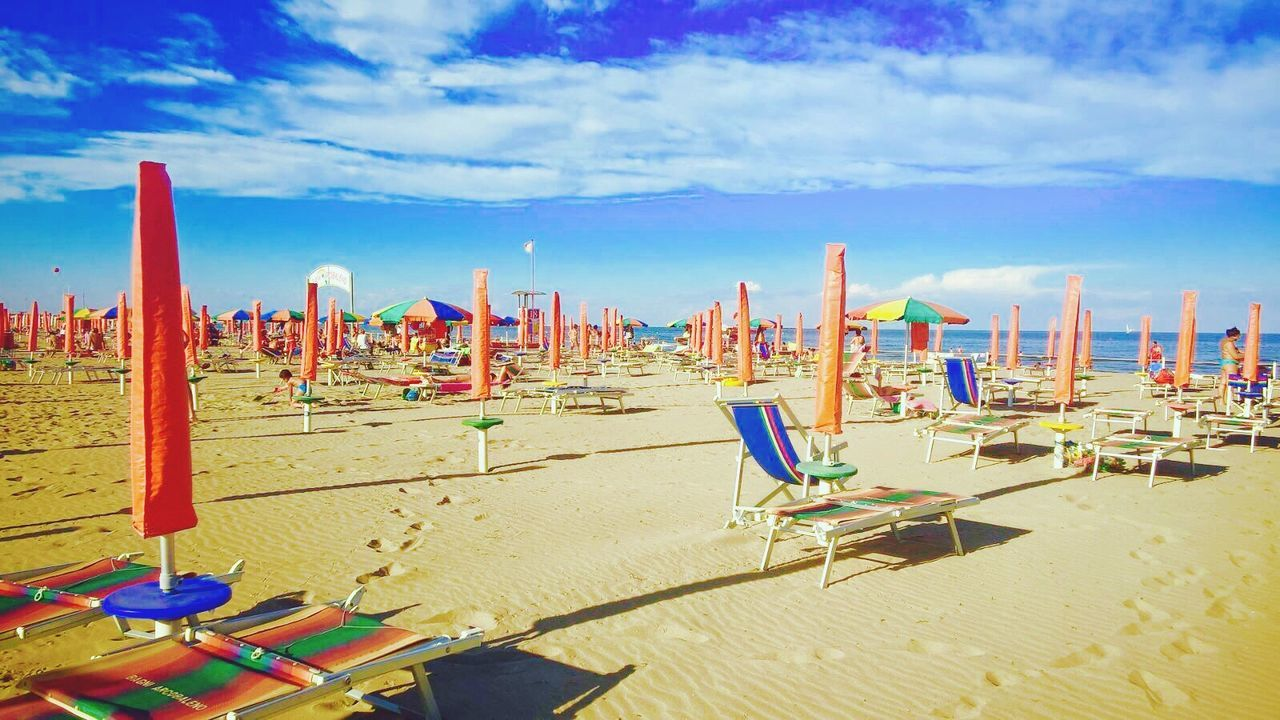 Beach Tranquility Shore Tranquil Scene Relaxation Blue Cloud - Sky Water Beautiful Sand Venice, Italy Chioggia, Italy Summer Sottomarina -Chioggia Sottomarina