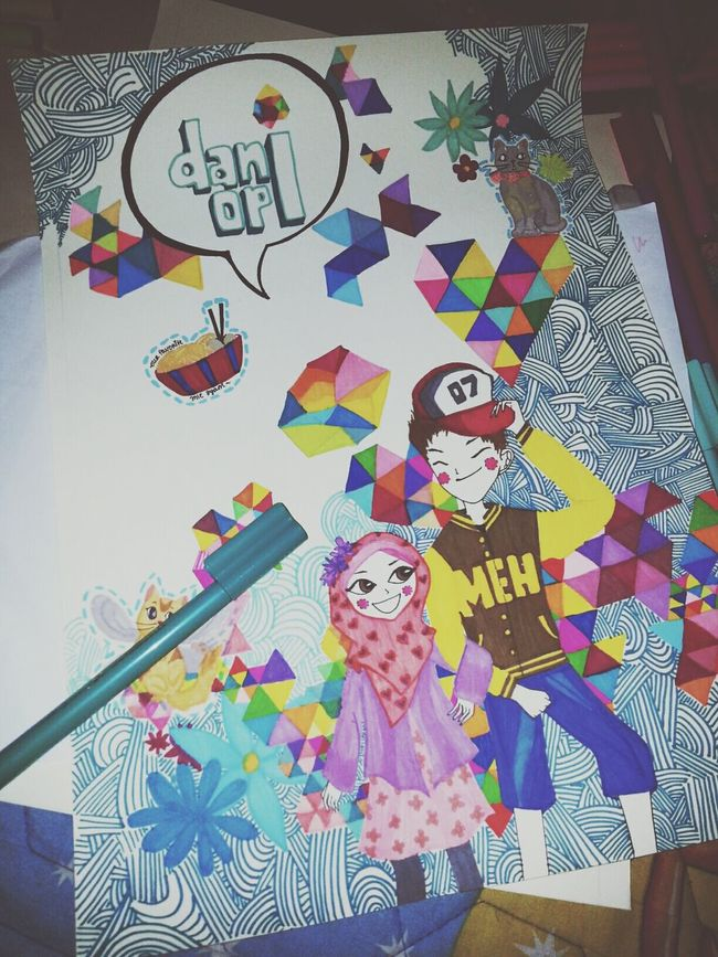 Markers  for Drawing Colorful Couple :3 ?? my friend asked me to make this one