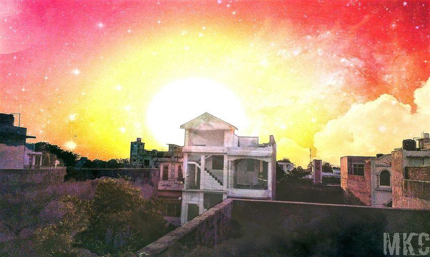 Hi! Hello World Taking Photos Sunset Sky_ Collection India Rajasthan...