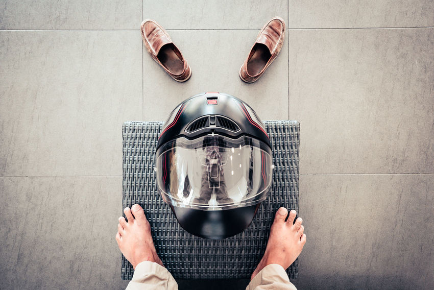 Be. Ready. Looking Down Motorcycle Motorcyclist Ready To Go Track Day Directly Above Feet Leisure Activity Lifestyles Racing Helmet Real People Safety Helmet Shoes