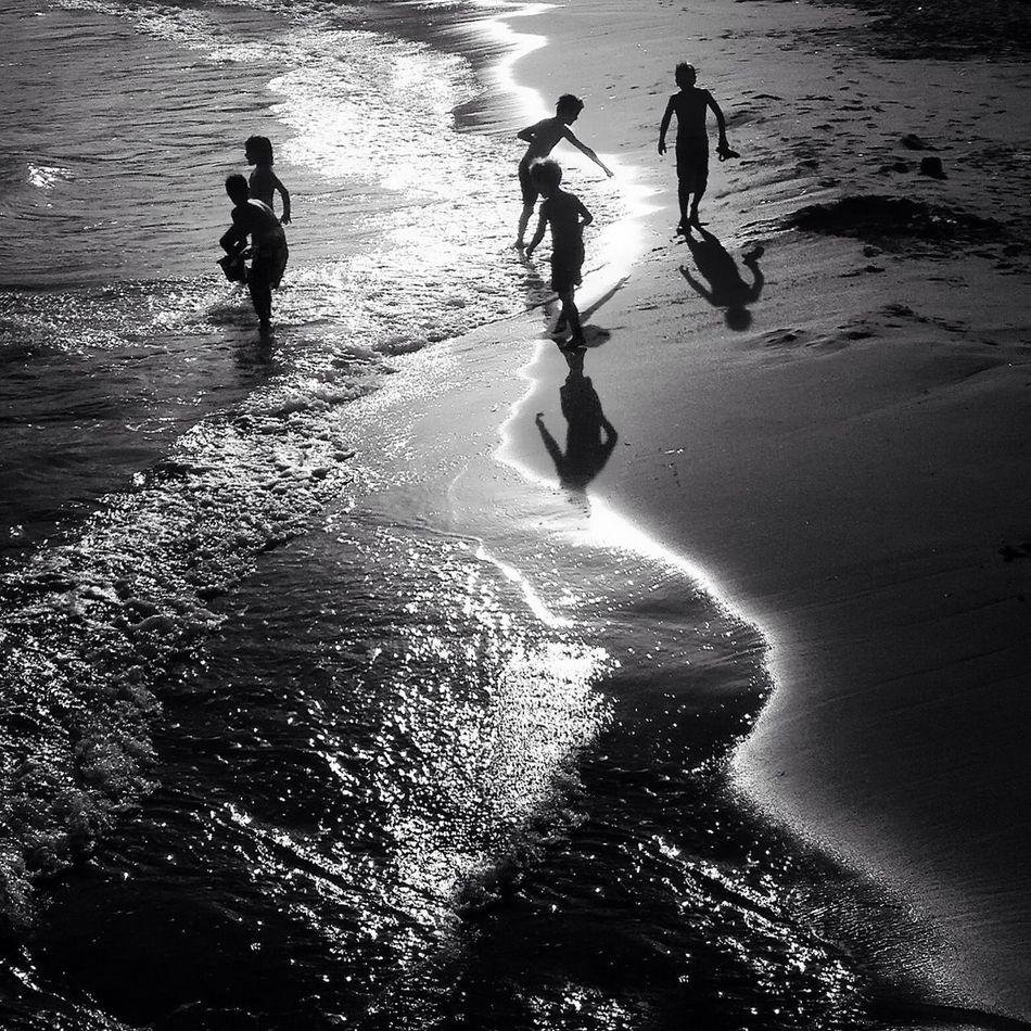 Beautiful stock photos of silhouette, Beach, Childhood, Children, Coastline