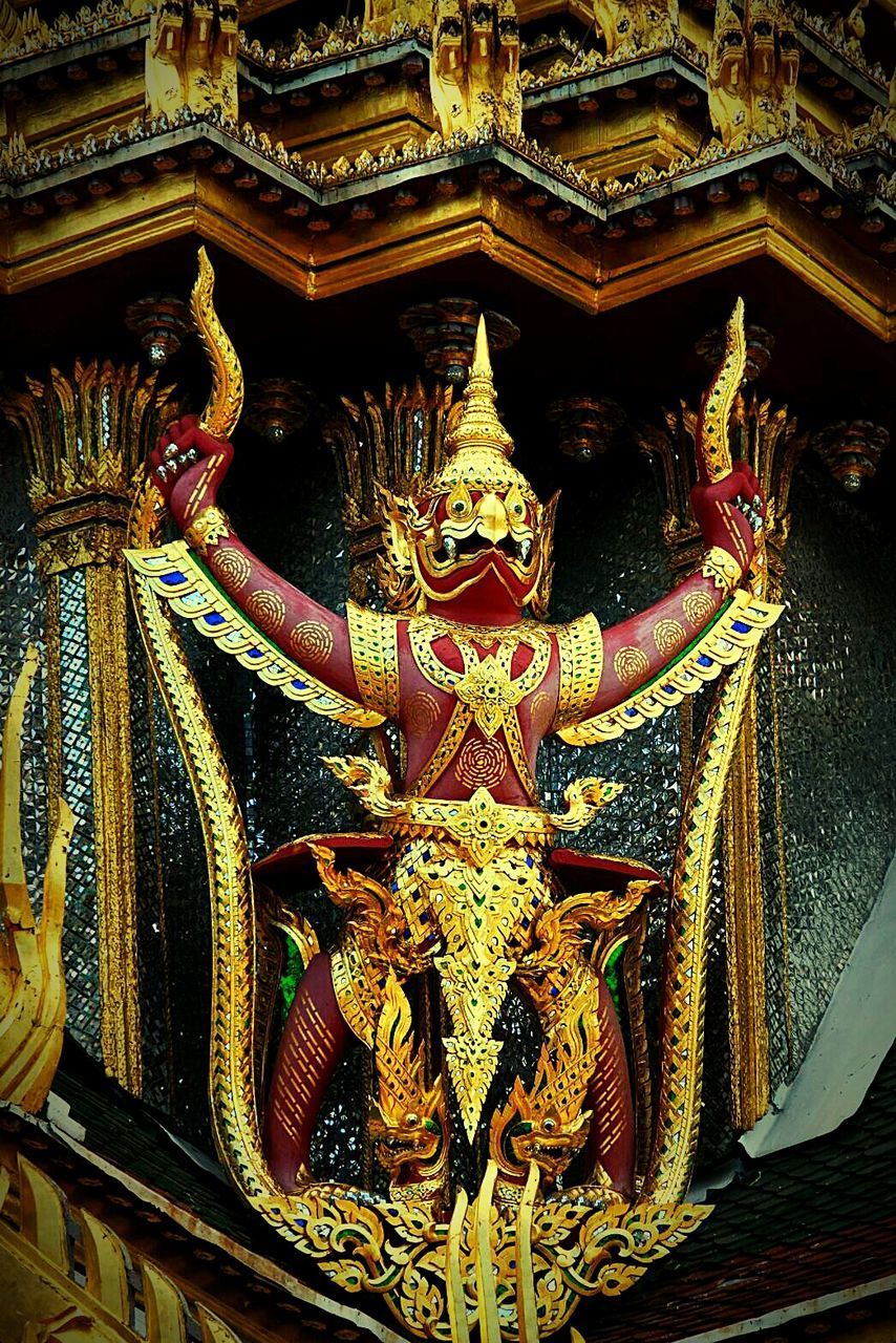 religion, place of worship, spirituality, statue, sculpture, low angle view, gold colored, indoors, no people, architecture, multi colored, day, dragon, close-up