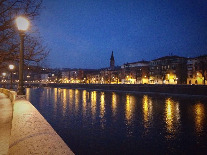 73/365 March 14 2017 Verona Verona Italy Adige River Adige River Veneto Italy One Year Project Illuminated Water Architecture Built Structure Sky Reflection Night No People Building Exterior Travel Destinations City Bridge - Man Made Structure Bare Tree Connection Tree Outdoors